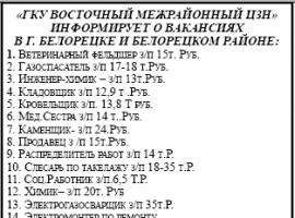 ВАКАНСИИ ЦЗН г.БЕЛОРЕЦК