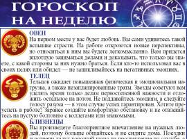 гороскоп на неделю с 14 по 20 сентября