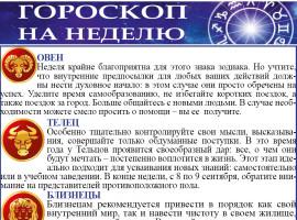 Гороскоп на неделю с 07 по 13 сентября