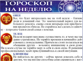 Гороскоп на неделю с 25 по 31 января